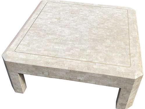 Brass Inlaid Tessellated Marble or Stone Coffee Table