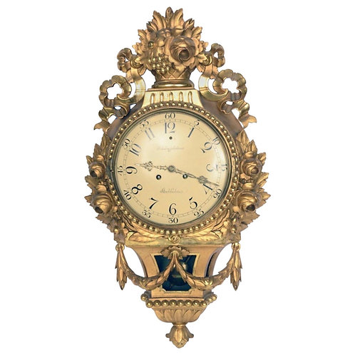19th Century Swedish Giltwood Cartel Clock by Rob Engstrom, Stockholm