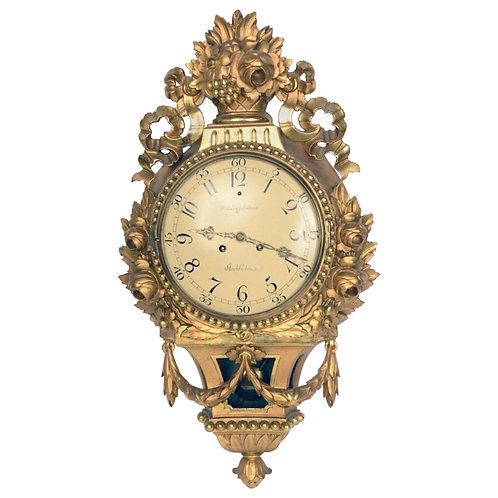 19th Century Swedish Giltwood Cartel Clock by Rob Engstrom, Stockholm