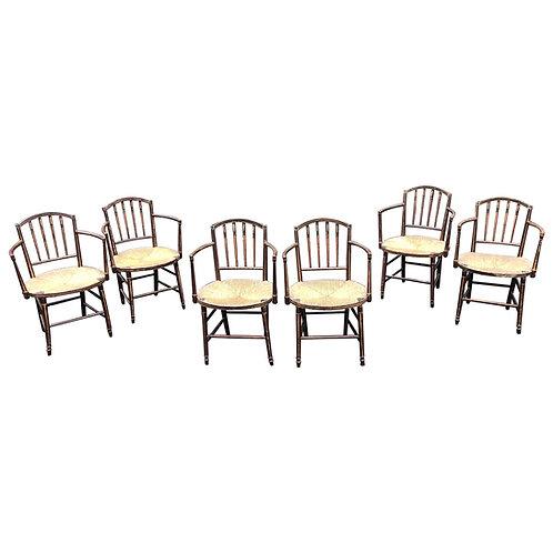 Set of 6 19th Century English Regency Armchairs in Original Paint