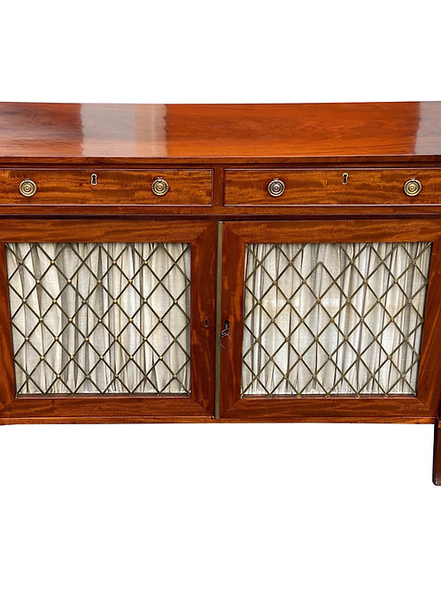 19th Century English Mahogany and Grillework Cabinet