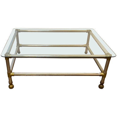 Mid Century/modern Aluminum, Brass and Glass Coffee Table