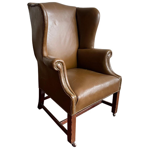 19th Century Georgian Wingchair in Leather