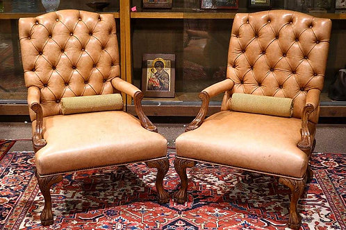 Vintage leather tufted chairs