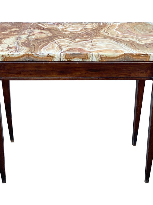 Early 19th Century French Neoclassical Console with Shaped Onyx Marble Top