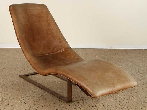 Vintage Leather and Iron Lounge Chair