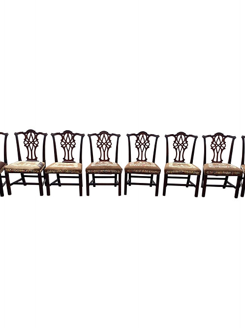 Fine Set of 8 18th Century Irish Chippendale Mahogany Chairs Needlepoint Seats