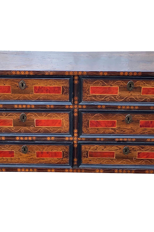 Early 18th Century Inlaid Italian Walnut and Tortoise Shell Vargueno
