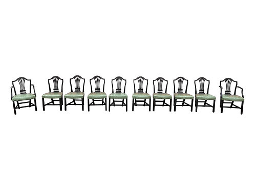 Set of 10 19th Century English Mahogany Dining Chairs with Light Green Seats