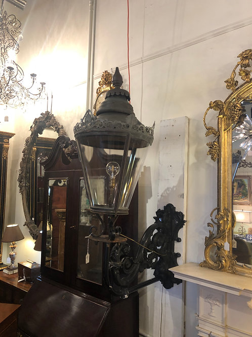Pair of period English copper and lead lanterns