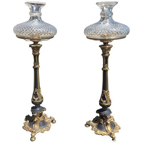 Pair of 19th Century American Bronze Astral Lamps