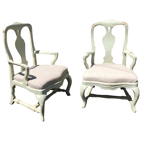 Pair of 19th Century Painted Swedish Armchairs