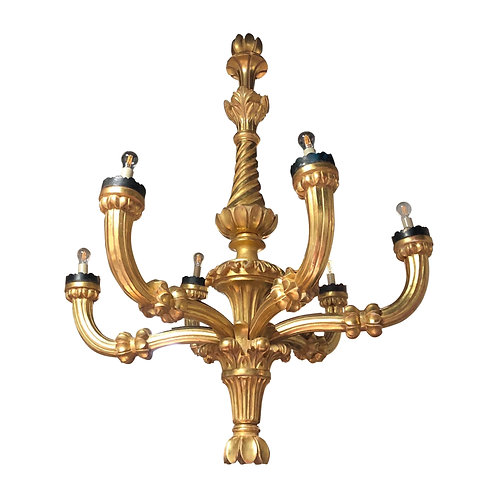 Impressive 19th Century Hand Carved Italian Giltwood Chandelier