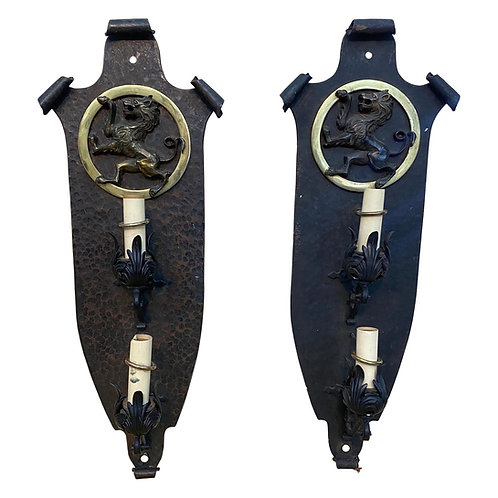 Pair of Great Quality Hand Hammered Bronze and Iron Sconces, Oscar Bach style