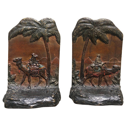 Early 20th Century Austrian Polychrome Bookends with Egyptian Scene
