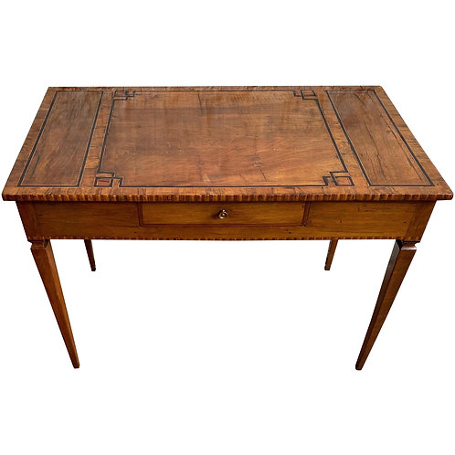 Early 19th Century Italian Neoclassical Inlaid Single Drawer Table/ Desk