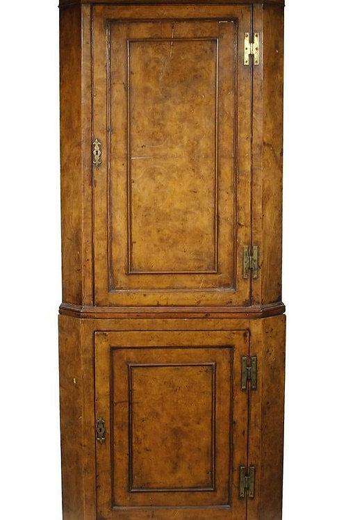 Petite Burled Elm Corner Cupboard
