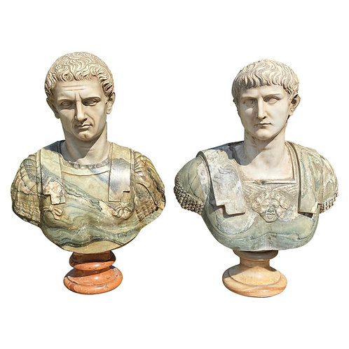 19th Century Italian Neoclassical Style Specimen Marble Busts of Caesars