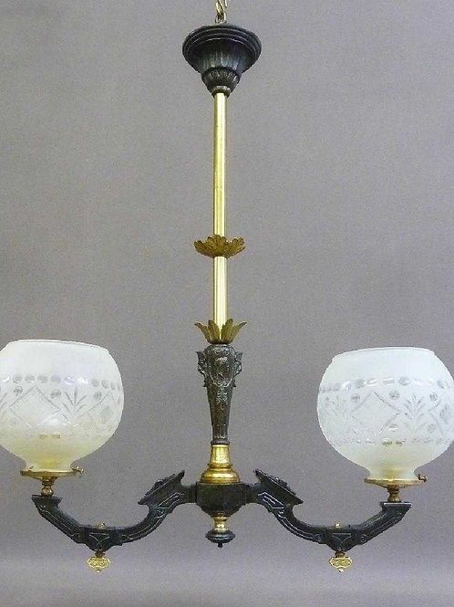 19th Century 2 light Gasolier
