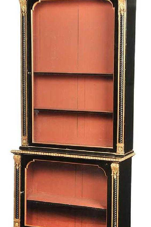 Gilt and Ebonized Louis Phillipe Cabinet