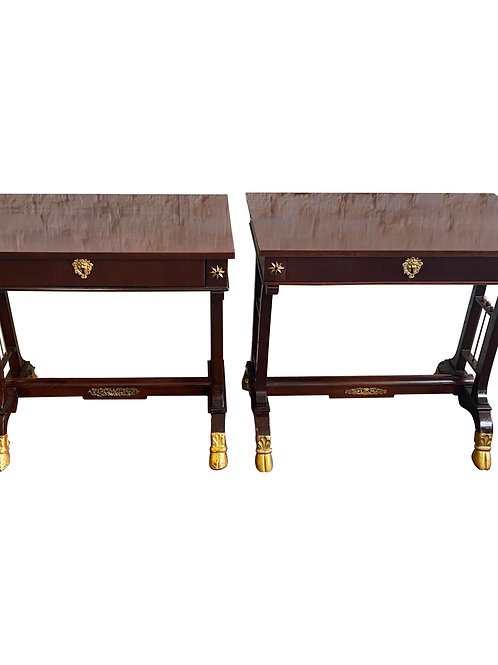 Pair of 19th Century Neoclassical Mahogany Side Tables with Hoof Feet