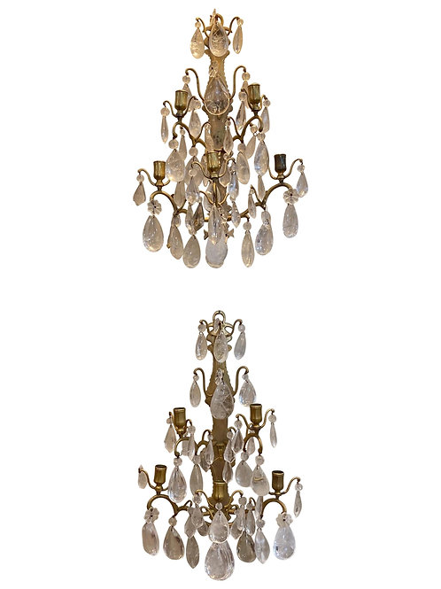 Great Pair of Rock Crystal and Bronze Sconces