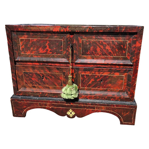 18th Century Anglo-Portuguese Tortoiseshell 3 Drawer Collectors Box on Stand