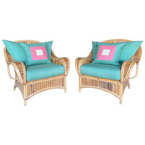 Large Pair of Vintage Rattan Club Chairs