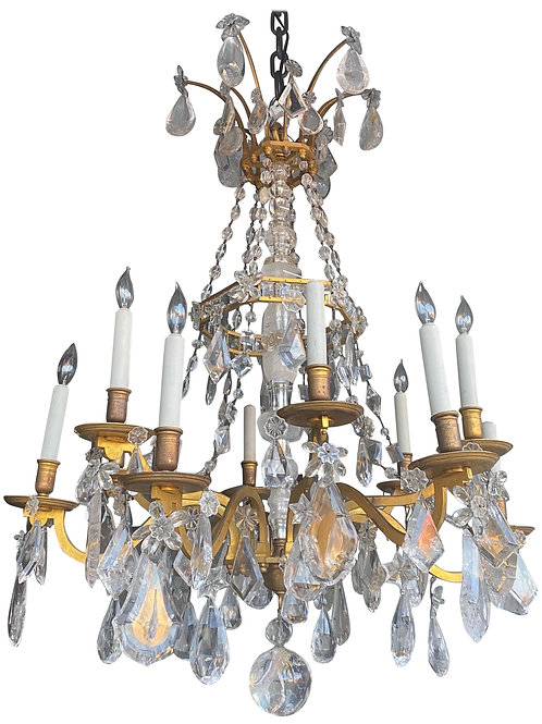 Incredible Late 19th-Early 20th Century Louis XVI Style Rock Crystal Chandelier
