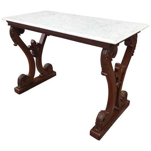 19th century Irish William IV Marble-Top Mahogany Hall Table with Fleur de Lys