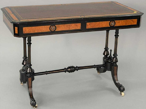 Ebonized and burlwood leathertop table