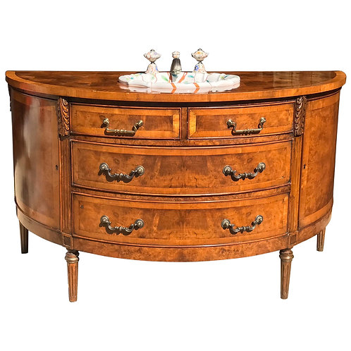 Hand Painted Sherle Wagner Sink in an Antique Demilune Console
