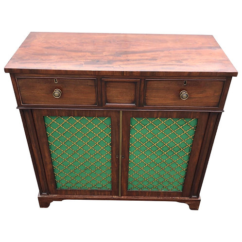 19th Century English Regency Mahogany Grillework Cabinet Base