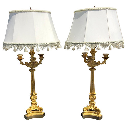 Pair of 19th Century French Ormolu Candelabra Lamps