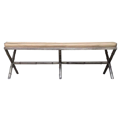 Midcentury Silver Leaf Faux Bamboo Bench