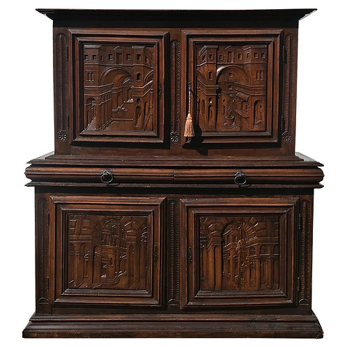 18th Century Italian Carved Walnut Cupboard with Italian Scenes Carved in Doors