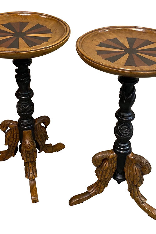 Pair of British Colonial Specimen Top Teapoys with Carved Swans and Hands