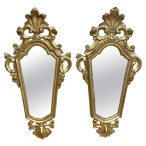 Pair of Early 19th Century Italian Giltwood Mirrors
