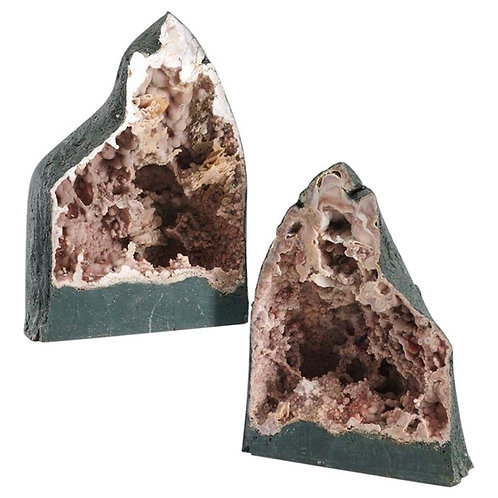 Large Pair of Rose Colored Cathedral Shaped Geodes