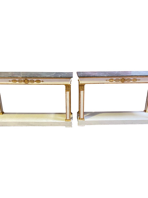 Pair of 19th Century Neoclassical Marble Top & Bronze Ormolu Mounted Pier Tables