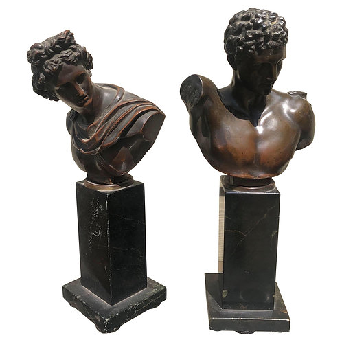 Pair of 19th Century Italian Grand Tour Bronze Busts on Marble Stands
