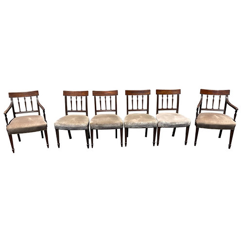Set of 6 19th Century English Mahogany Chairs in Mohair Fabric