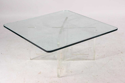 Contemporary Lucite and Glass Coffee Table