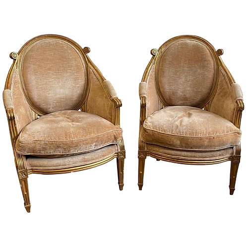Unique & Fine Pair of 18th Century Louis XVI Giltwood Bergeres, Probably French