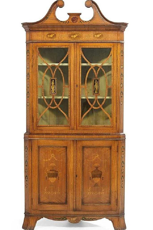 Satinwood Edwardian Corner Cupboard