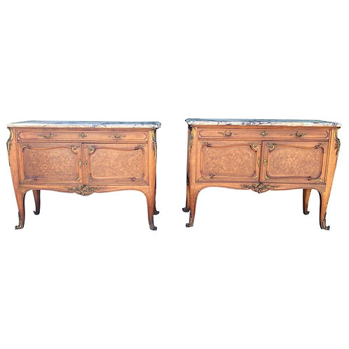 Pair of Singed Linke Bronze Mounted Parquetry Commodes, Francois Linke, Paris FR