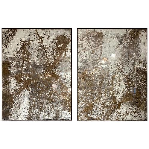 """Summer Snow"", Pair of Artists Made Diptych Églomisé ""Paintings"""