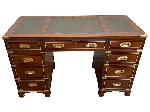 Early 20th Century Brass Bound Leather and Mahogany Three Part Campaign Desk