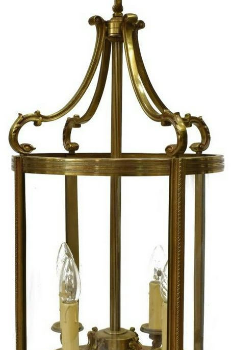 French Louis XVI style bronze and glass four-light hall lantern