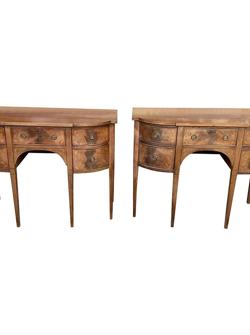 Pair of Petite English Georgian Style Inlaid Mahogany Side Boards
